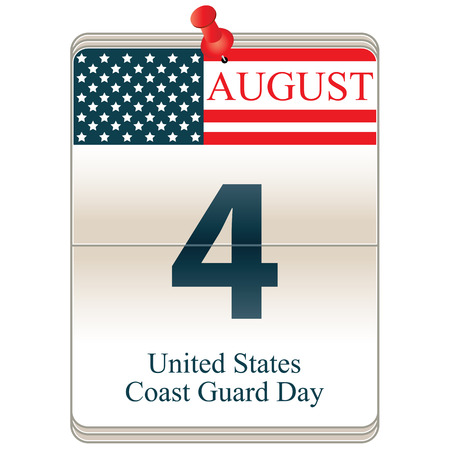 coast guard: Vector de la fecha del calendario bloque blanco de Estados Unidos el D�a de la Guardia Costera, 04 de agosto