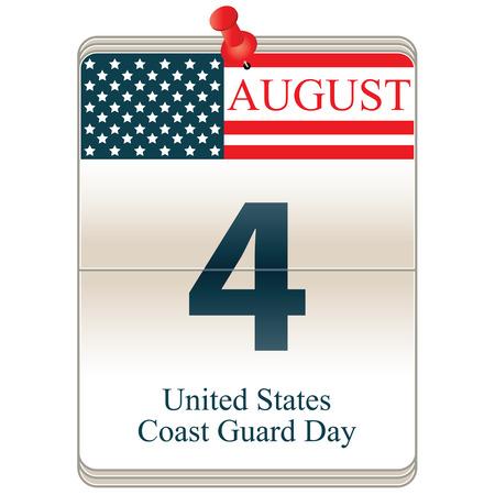 Vektor nach dem Datum weißen Block Kalender United States Coast Guard Day, 4. August Vektorgrafik