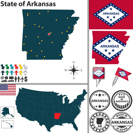 ar: Vector set of Arkansas state with flag and icons on white