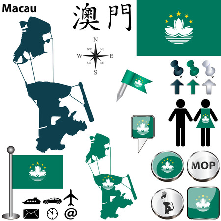 macau: Vector of Macau set with detailed country shape with region borders, flags and icons Illustration