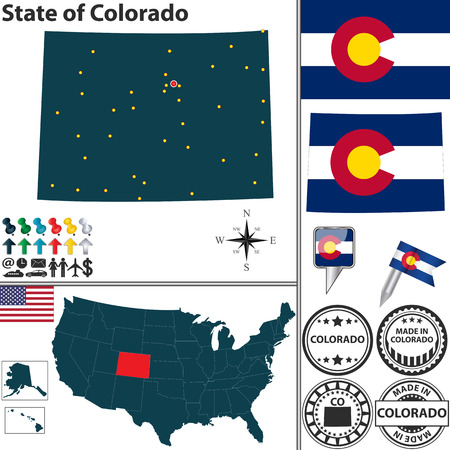 denver colorado: Vector set of Colorado state with flag and icons on white background