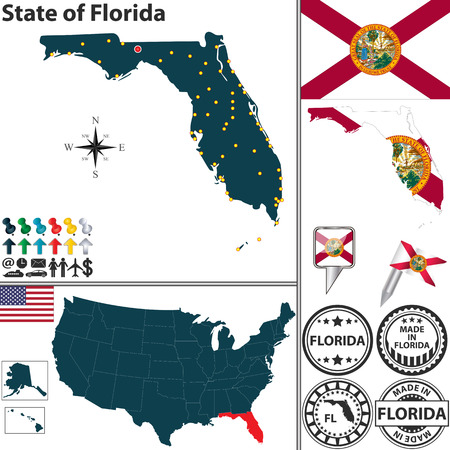 jacksonville: Vector set of Florida state with flag and icons on white background