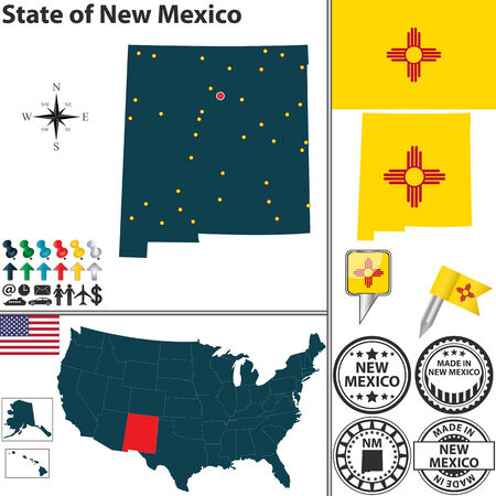 nm: Vector set of New Mexico state with flag and icons on white background Illustration