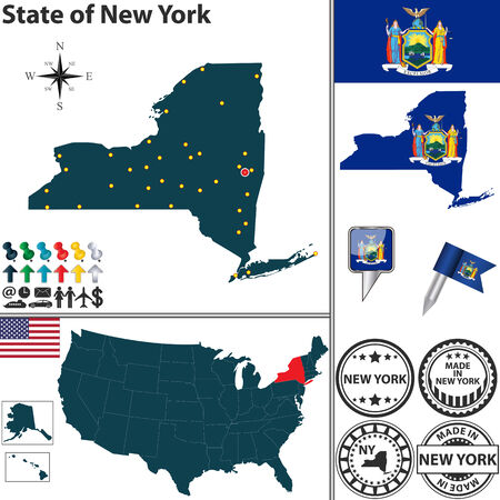 new york map: Vector set of New York state with flag and icons on white background Illustration