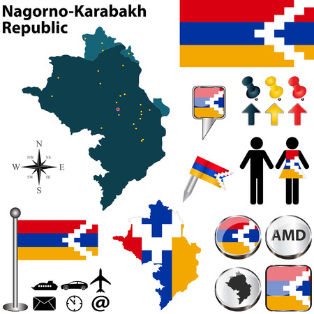 dram: Vector map of Nagorno-Karabakh Republic on white background Illustration