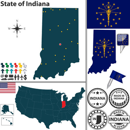 indianapolis: Vector set of Indiana state with flag and icons on white background