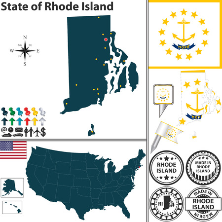 Vector set of Rhode Island state with flag and icons on white background Vector