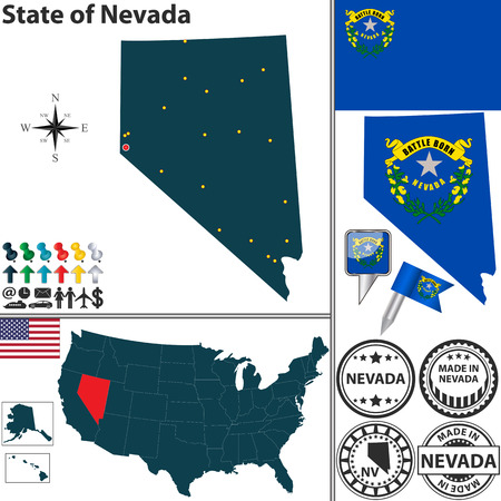 Vector set of Nevada state with flag and icons on white background Vector