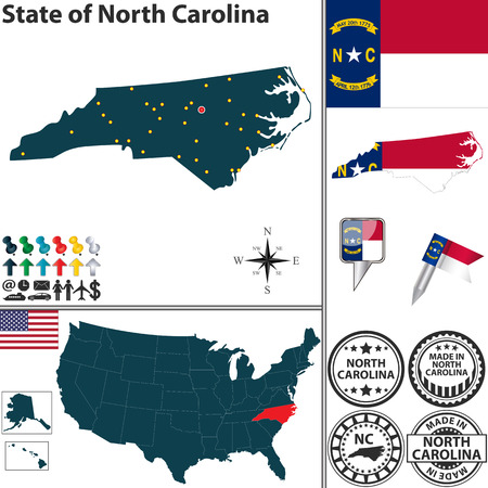 north carolina: Vector set of North Carolina state with flag and icons on white background Illustration