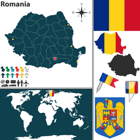 romania flag: Vector map of Romania with regions, coat of arms and location on world map