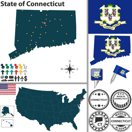 Vector set of Connecticut state with flag and icons on white background Vector