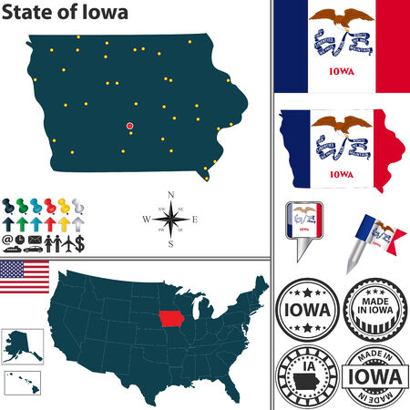 davenport: Vector set of Iowa, state with flag and icons on white background