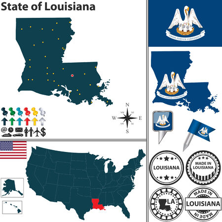 baton rouge: Vector set of Louisiana state with flag and icons on white background