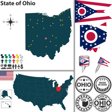 ohio: Vector set of Ohio state with flag and icons on white background