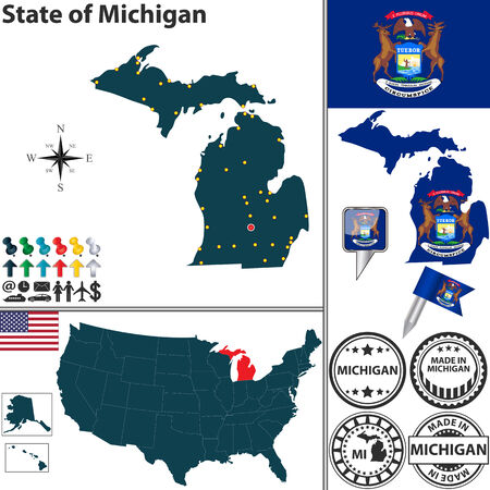 grand rapids: Vector set of Michigan state with flag and icons on white background