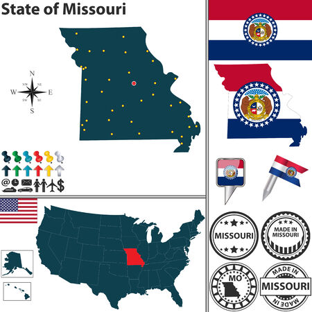 jefferson: Vector set of Missouri state with flag and icons on white background