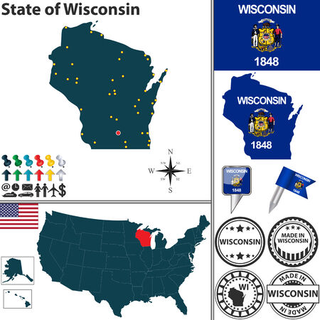 wisconsin flag: Vector set of Wisconsin state with flag and icons on white background