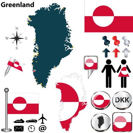 Vector map of Greenland with regions, coat of arms and location on world map Vector