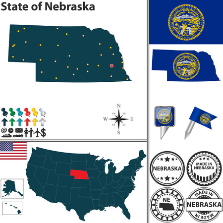 ne: Vector set of Nebraska state with flag and icons on white background