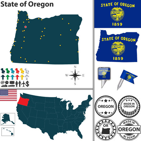 portland: set of Oregon state with flag and icons on white background Illustration