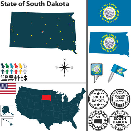 sd: set of South Dakota state with flag and icons on white background Illustration