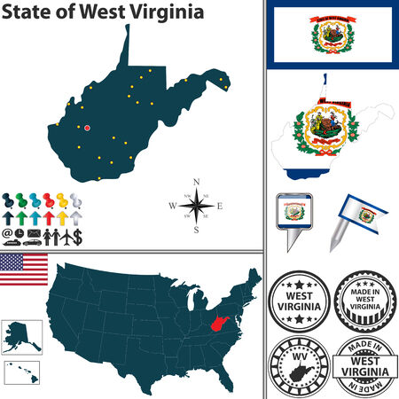 set of West Virginia state with flag and icons on white background Vector