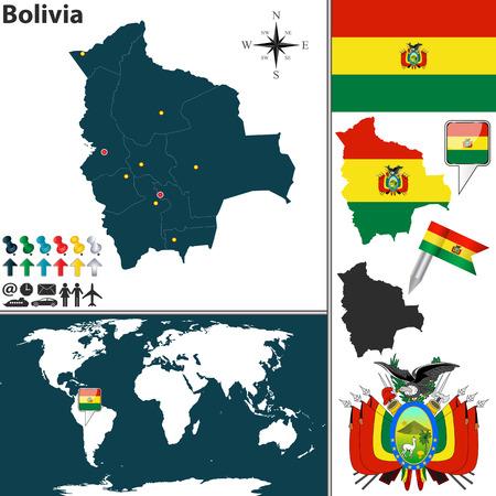 mapa de bolivia: mapa de Bolivia con las regiones, escudo de armas y la ubicación en el mapa mundial