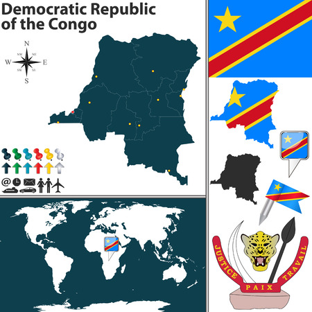 republic of the congo: map of Democratic Republic of the Congo with regions, coat of arms and location on world map