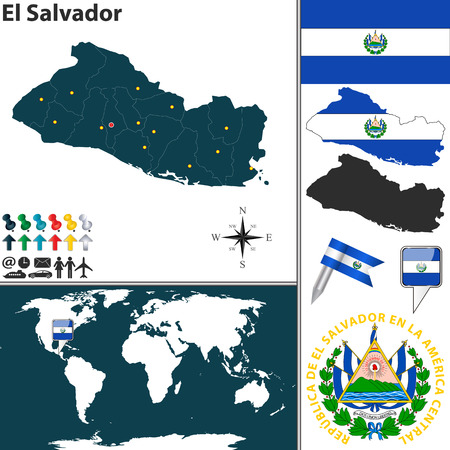 el salvador: map of El Salvador with regions, coat of arms and location on world map