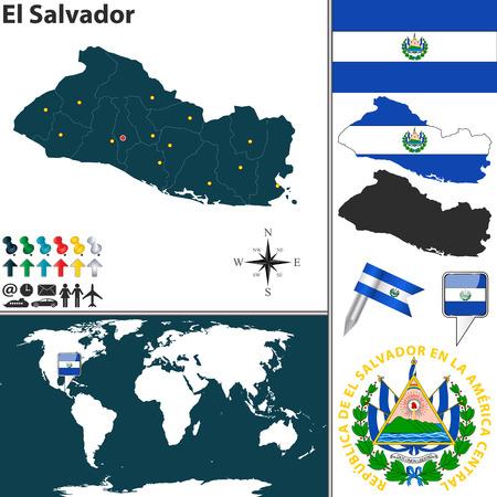 mapa de el salvador: mapa de El Salvador con las regiones, escudo de armas y la ubicación en el mapa mundial Vectores