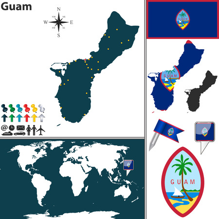 guam: map of Guam with regions, coat of arms and location on world map
