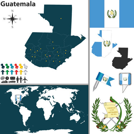 map of Guatemala with regions, coat of arms and location on world map Vector