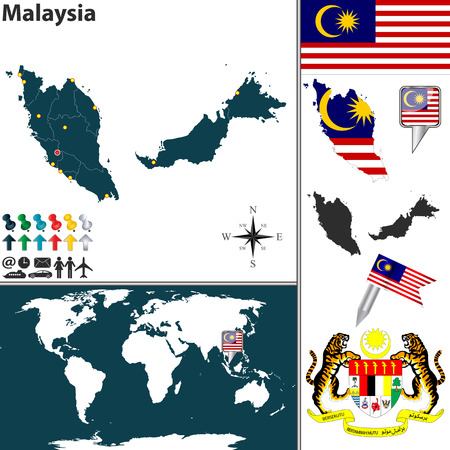map of Malaysia with regions, coat of arms and location on world map Vector