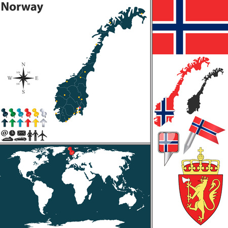 norwegian flag: map of Norway with regions, coat of arms and location on world map