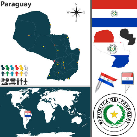 paraguay: map of Paraguay with regions, coat of arms and location on world map