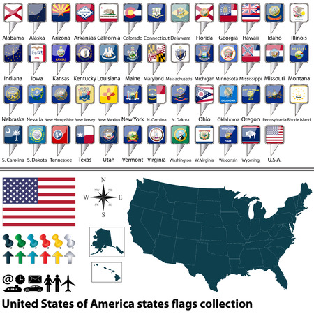 map of United States of America with all states flags collection Vector