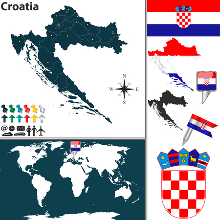 map of Croatia with regions, coat of arms and location on world map Vector