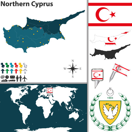 map of Northern Cyprus with regions, coat of arms and location on world map