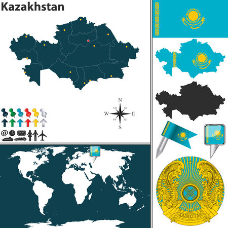 astana: map of Kazakhstan with regions, coat of arms and location on world map Illustration
