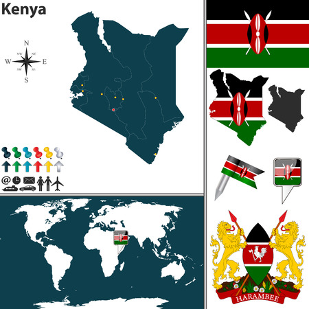 Kenya set with detailed country shape with region borders, flags and icons Vector