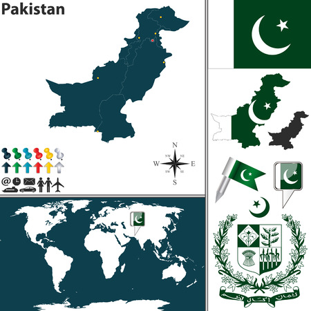 pakistan flag: map of Pakistan with regions, coat of arms and location on world map
