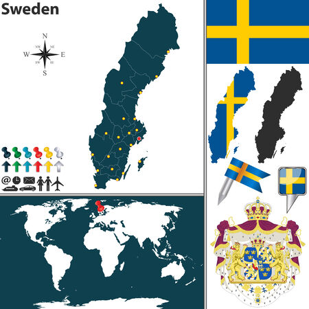 map of Sweden with regions, coat of arms and location on world map Vector