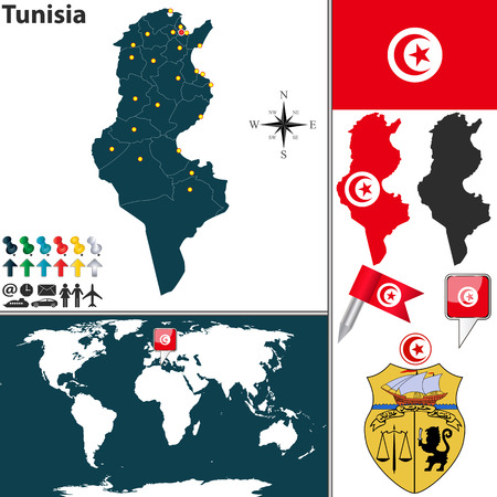 map of Tunisia with regions, coat of arms and location on world map Vector