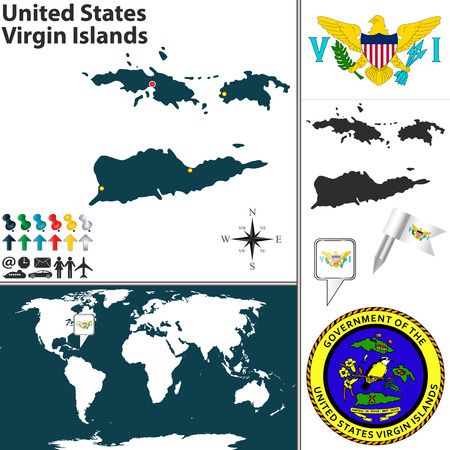 charlotte: map of United States Virgin Islands with  coat of arms and location on world map