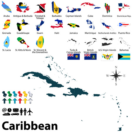 antigua: political maps with flags of Caribbean on white background