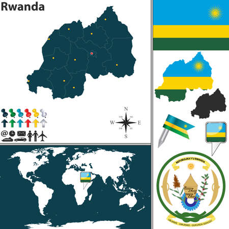 map of Rwanda with regions, coat of arms and location on world map Vector