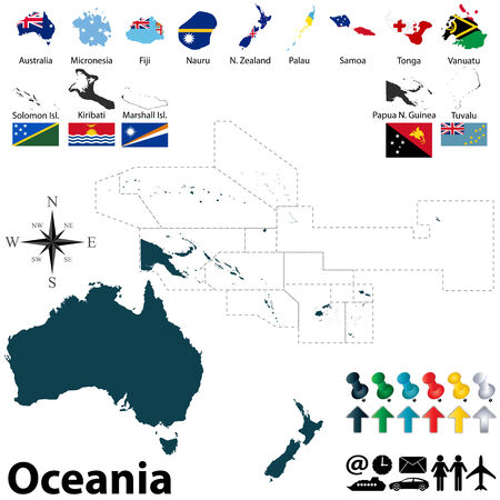 oceania: political map of Oceania set with buttons flags on white background Illustration