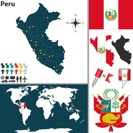 lima province: map of Peru with regions, coat of arms and location on world map Illustration