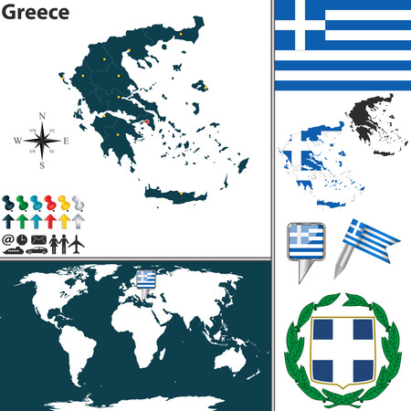greece map: map of Greece with regions, coat of arms and location on world map