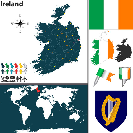 map of Ireland with regions, coat of arms and location on world map Vector